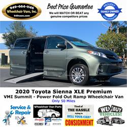 NEW 2020 Toyota Sienna XLE VMI Summit Power Fold Out Ramp Side Loading Wheelchair Van